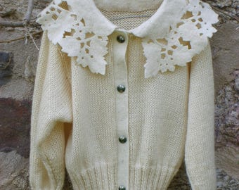 White scalloped felt and hand knit Cardigan