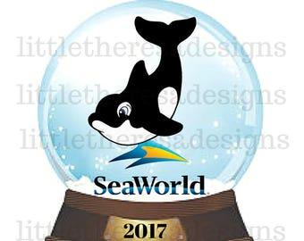 SeaWorld Shamu Water Globe Transfer,Digital Transfer,Digital Iron Ons,DIY