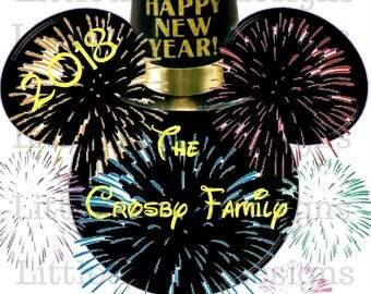 Fireworks Mickey Head New Years Transfer,Digital transfer,Digital Iron On,Diy