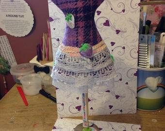 harris tweed handmade strawberry mannaquin 14ins tall