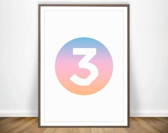 Chance 3 Number Print The Rapper Art Poster Acid Rap Ultralight