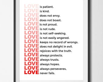 Love Never Fails, Instant Download Digital Printable Wall Art, Black and White and Red Typography, Inspirational Quote Wall Art