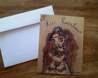 """Miss Rainbow"" correspondence card"