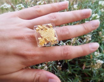 Gold leaf and resin ring