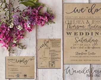 We Do Rustic Wedding Invitation Suite