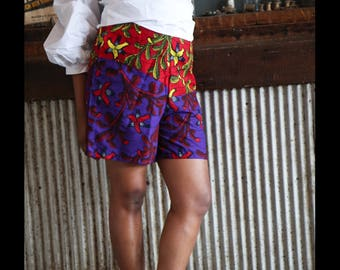 African Print High Waist Shorts