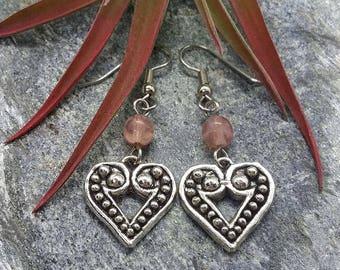 Pink Heart Earrings (Pierced or Clip-On)