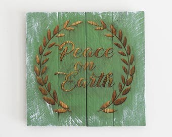 Engraved Pallet Wood Sign- Peace on Earth | Merry Christmas | Holidays | Religious | Rustic | Wreath | Home Decor | Wall Hanging