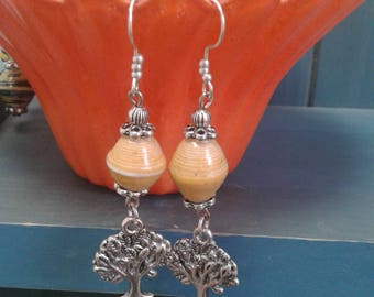 Orange Paper Bead Earrings with Tree of Life Dangle