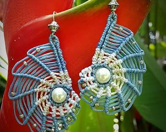 Macrame earrings Nautilus