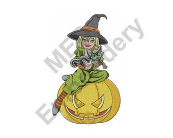 Halloween Witch And Cat - Machine Embroidery Design