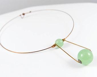 Green necklace, Jade jewelry, Jade necklace, Jade pendant, Gemstone necklace, Gemstone jewelry, Minimal necklace, Bronze jewelry, Women gift