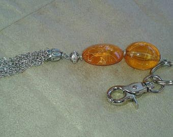 Jewelry bag yellow/orange and silver beads