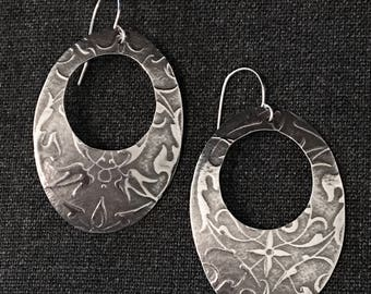 Gothic Victorian style Sterling Silver Oval Hoops