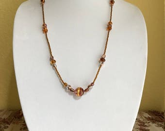A long Venetian glass and Czech fire polished beads necklace