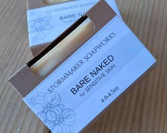 Bare Naked, All Natural Olive Oil Soap for Sensitive Skin, Vegan
