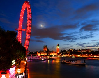 London, UK, Great Britain, London Eye, Night Photography, Big Ben, Travel, Fine Art photography