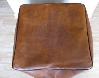 SQUARE HANDMADE Stuffed Moroccan VINTAGE Genuine Tan Leather