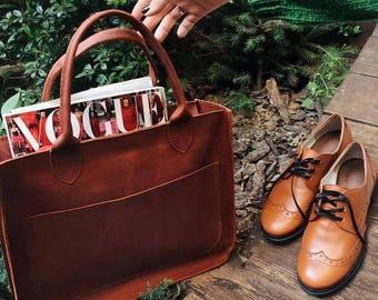 Leather bag woman cognac, cowhide, full grain leather, handmade, cognac leather tote, shoulder bag, tote bag, Claire - cognac!