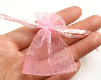 20 Organza Bag Pink Drawstring Wedding Gift Bag Small Jewelry Pouch Party Favor 7x5cm/3x2 inch