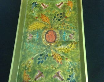 painted by artisans glass tray