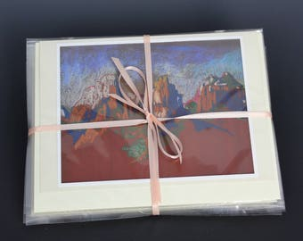 Packet of 4 Sedona Note Cards, Each Different, from Plein Air Pastels by Arizona Artist, Karlene Voepel