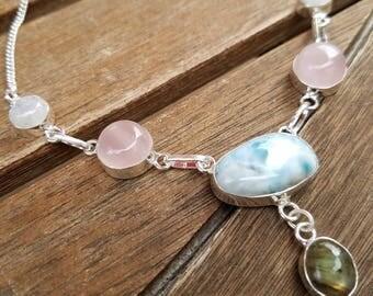 Genuine Larimar, Rose Quartz, Moonstone and Labradorite Necklace