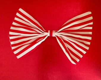 Red and white stripes hair bow, candy stripes hair bow, giant hair bow, stripes hair bow, large hair bow, large red and white hair bow