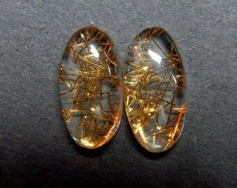 High Quality Copper Rutilated Cabochon 20x10x6 MM Size 2 Piece Pair AAA++ Quality Oval Shape Doublet Rutilated Gemstone