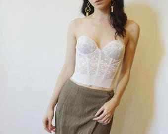 80s Romantic White Bustier 34B