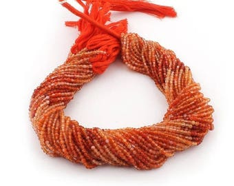 50% off 5 Strands Shaded Carnelian 2.5mm Faceted Center Drill Rondelles, Carnelian Gemstone Beads 13 Inches Long GR130