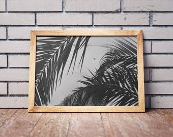 Black n White Print-Minimalistic Prints-Palm Leaf Print-Tropical Leaf Print-Palm Leaves-Palm Tree-Art Prints-Palm Leaf prints-Palm Art Print