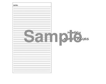 Monthly Planner Pages- Digital File- Month on two pages, Week on Two Pages, Additional Pages