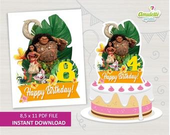 Moana Centerpiece, Moana Maui Centerpiece, instant download, Printable, pdf, moana decorations, moana birthday decoration, party supplies