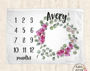Baby Monthly Milestone Blanket - Orchid Print Receiving Baby Milestone Blanket Photo Prop Blanket - 30x40, 50x60, 60x80