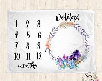 Baby Milestone Blanket - Monthly Milestone Blanket - Monthly Blanket - Baby Gift - Baby Blanket - Shower Gift - Crystal Geode Rock Blanket