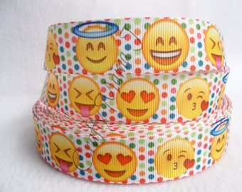 "LAST CUTS of Polka Dot Emoji Faces on 7/8"" Grosgrain Ribbon 5 yards. Emoji Faces used in electronic messages."