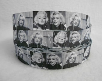 "Marilyn Monroe Black and white pitures on 7/8"" Grosgrain Ribbon by the yard. Choose between  3/5/10 yards. Sex symbol 1950's Movie Star"