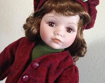 """Vintage Porcelain Doll, 16"""" tall"""