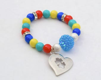 Autism Awareness Bracelet, Autism Gift, Autism Bracelet, Autism Support, Puzzle Piece Bracelet, Beaded Jewelry, Gift For Mom, Girl Jewelry