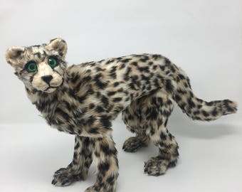Cheetah realistic poseable art doll animal