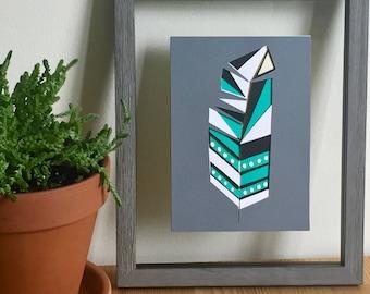 Layered Geometric Feather Paper Cut Art