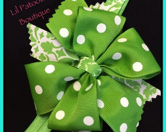 Infant Headband: Green and White boutique style bow