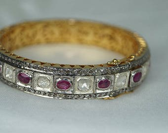 Victorian Style 4.10cts Rose Cut Uncut Flat Diamond Ruby Gold Plated Filigree Work Hinged Bangle Bracelet  - 19061703