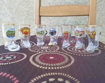 Vintage - Glass - German Boot Shot Glasses - Set of 7
