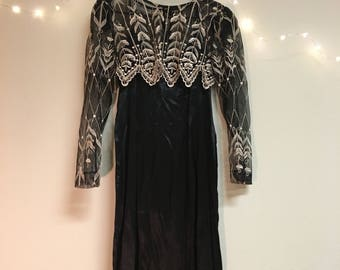 Vintage dress with embroidered shawl