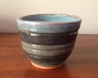 """Red earthenware cup 4 1/4"""" diameter, 3 1/4"""" tall"""
