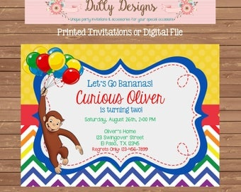 Curious George Birthday Invitation, Curious George Birthday Invite, Curious George Invitation, Curious George Invite,Curious George Birthday