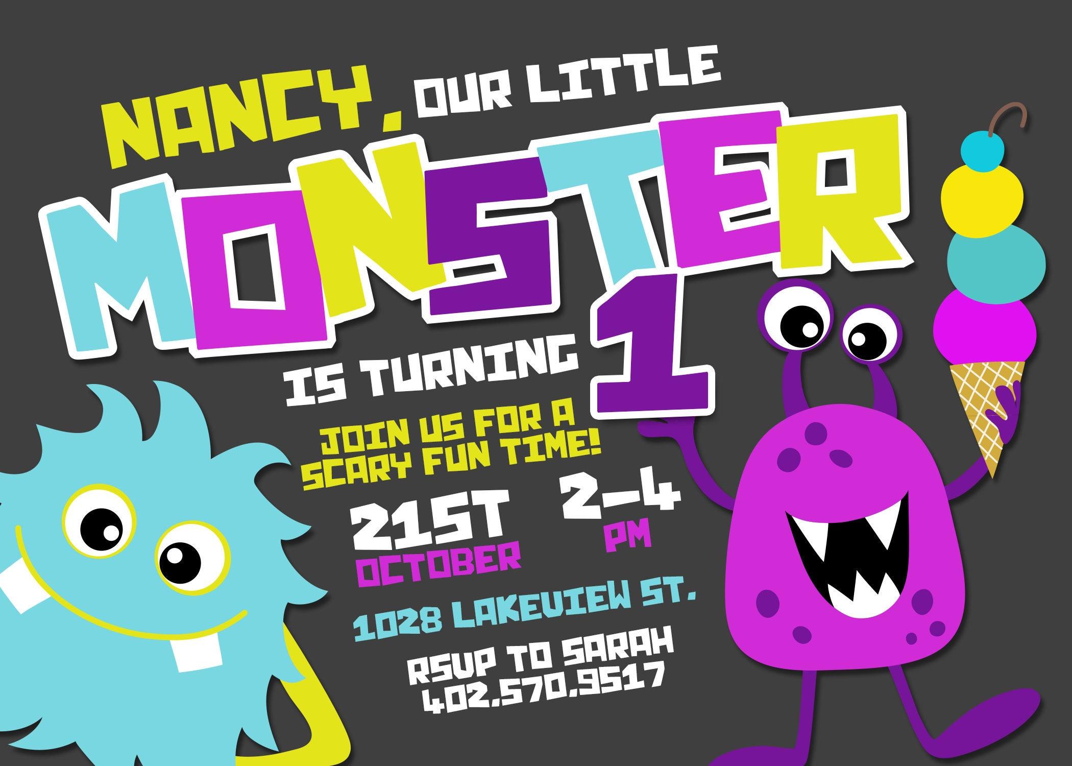 Monster Birthday Invitation Little Monster Invitation Monster Party