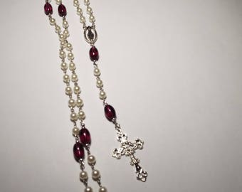 Handmade Catholic Rosary Pearl Amethyst Purple Color